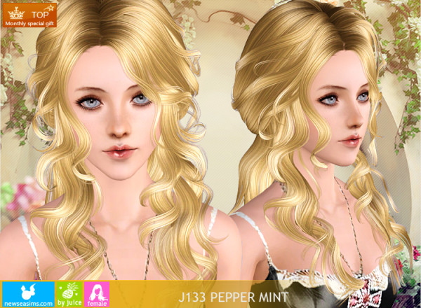 Rhinestone hairstyle J133 PepperMint by NewSea for Sims 3