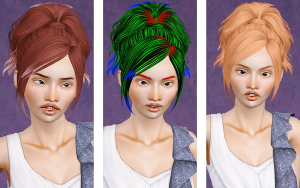 Wavy top ponytail hairstyle Skysims 132 retextured by Beaverhausen for Sims 3