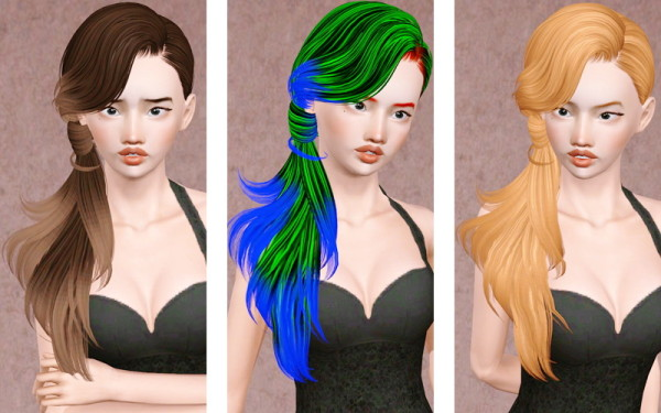 Side wrapped ponytail hairstyle Sky Sims 139 retextured by Beaverhausen for Sims 3