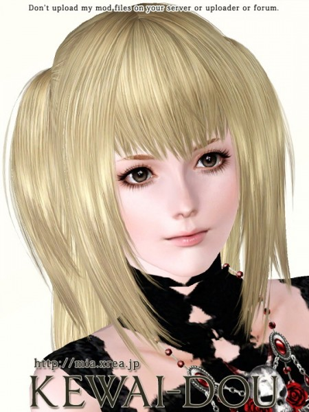 Double ponytail with long bangs hairstyle Misa.A by Kewai Dou for Sims 3