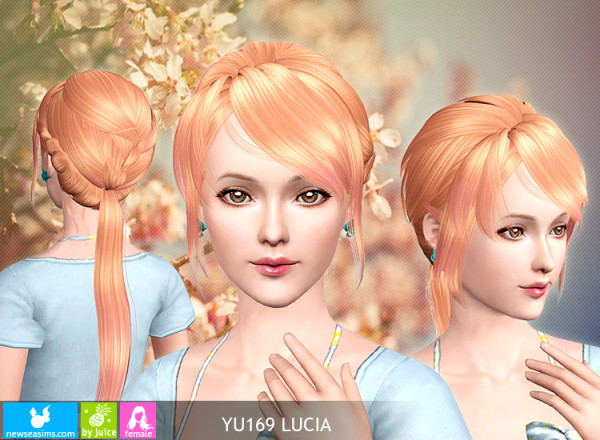 Elegance ponytail hairstyle YU169 Lucia by New Sea for Sims 3