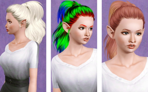 Wrapped ponytail hairstyle   SkySims hair 167 retextured by Beaverhausen for Sims 3