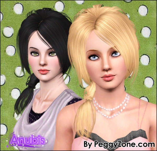 Formal side ponytail hairstyle Peggy`s 507 retextured by Anubis for Sims 3
