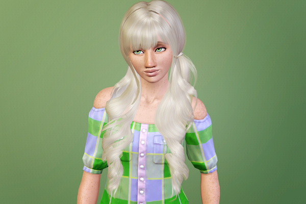 Double twisted ponytails with chopped bangs retextured by Beaverhausen for Sims 3