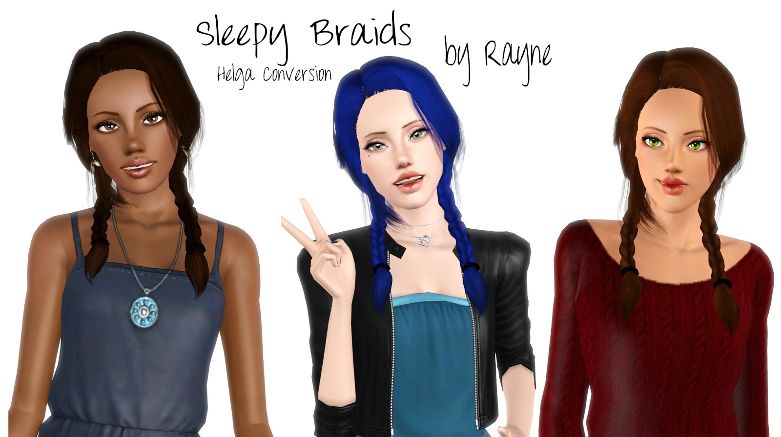 Awesome Double Braids Hairstyle Retextured By Rayne S Factory Sims 3 Hairs Short Hairstyles For Black Women Fulllsitofus