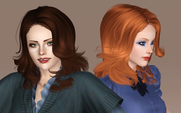 Curled peaks hairstyle NewSea`s BadgerGame retextured by Bring Me Victory for Sims 3
