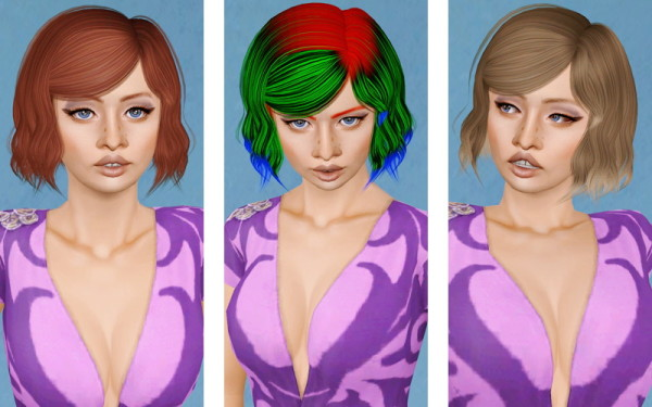 Chopped bob with bangs hairstyle  Alesso's Burn retextured by Beaverhausen for Sims 3