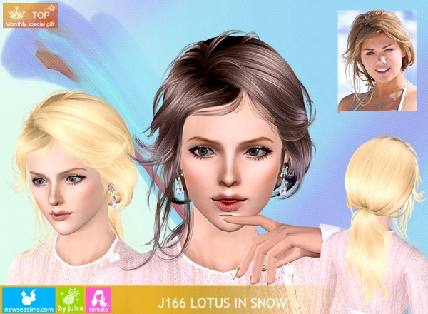 Awesome Lovely Ponytail Hairstyle J166 Lotus In Snow By Newsea Sims 3 Hairs Hairstyles For Men Maxibearus
