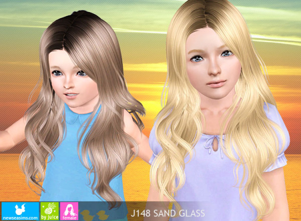Shiny hairstyle J148 Sand Glass by NewSea for Sims 3