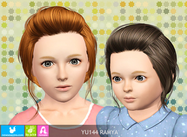 Pigtail with caught bangs hairstyle YU 144 Ramya by NewSea for Sims 3
