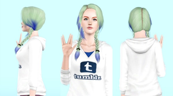 Double braids hairstyle retextured by Rayne`s factory for Sims 3