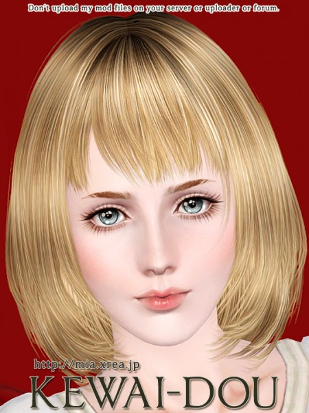 Smooth and shiny bob with bangs hairstyle   Cecile.K by Kewai Dou for Sims 3