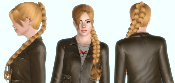 Huge braid hairstyle retextured by Rayne`s Factory for Sims 3