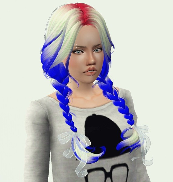 Double braid hairstyle Newsea Clover retextured by Phantasia for Sims 3