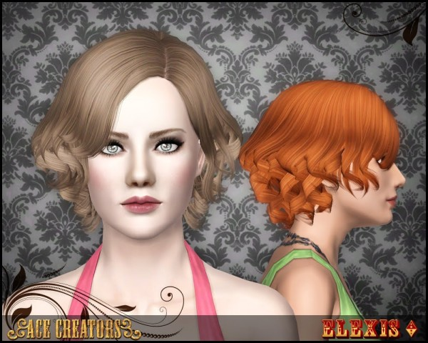 Elexis`s Waved bob hairstyle retextured by Ace Creators for Sims 3