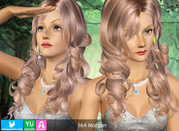 Pretty waves hairstyle J164 Morgan by NewSea for Sims 3