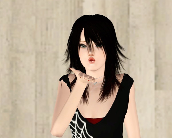 Fringed hairstyle with bangs retextured by Rayne`s Factory for Sims 3