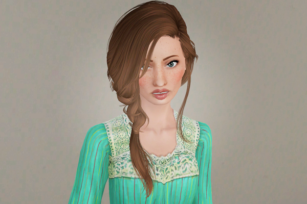 In one side fishtail hairstyle   Peggy's July 2012 retextured by Beaverhausen for Sims 3