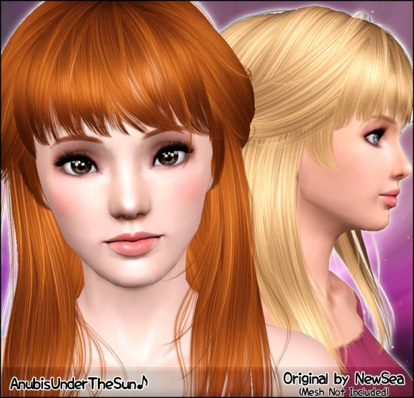 Half up do with bangs hairstyle NewSea`s Voyager retextured by Anubis for Sims 3