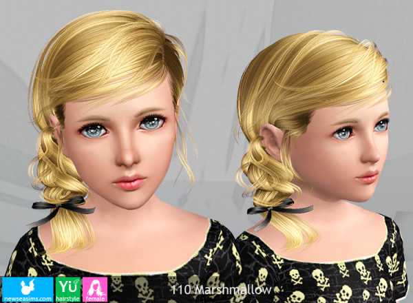 110 Marshmallow   Side fishtail with bow hairstyle by NewSea for Sims 3