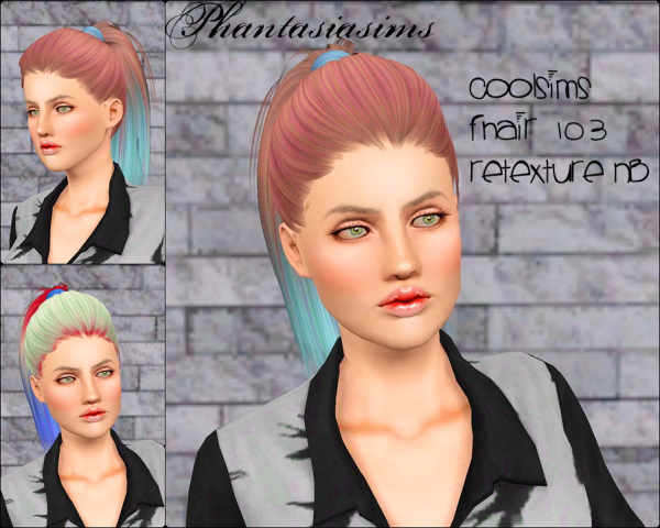 Ponytail hairstyle Coolsims 103 Retextured by Phantasia for Sims 3