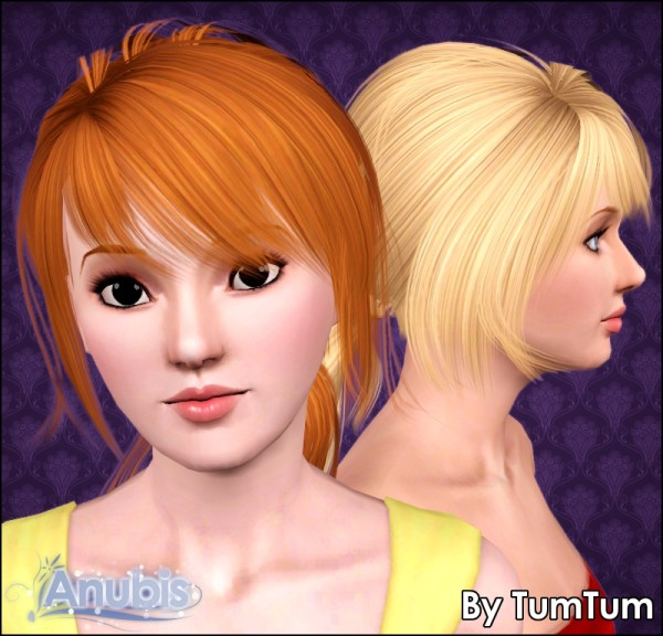 Wrapped large ponytail TumTums Anto` 52 retextured by Anubis for Sims 3