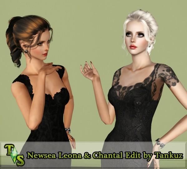 Tornado ponytail Newsea Leona & Chantal retextured by Tankuz for Sims 3