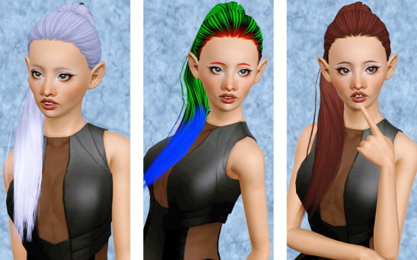 Ponytail hairstyle   Butterflysims 117 retextured by Beaverhausen for Sims 3