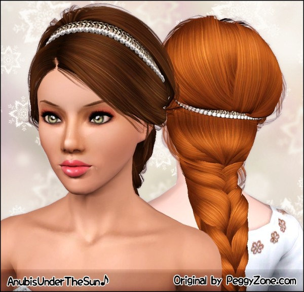 Royal braid with rhinestone headband Peggy`s 830 hairstyle retextured by Anubis for Sims 3