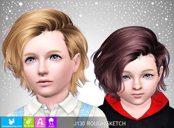 Chin Length bob hairstyle J130 Rough Sketch by NewSea for Sims 3