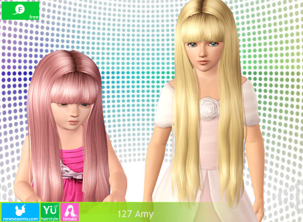 Shiny middle parth with bangs hairstyle 127Amy by NewSea for Sims 3