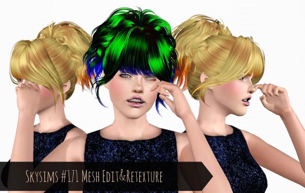 Top ponytail   Skysims 171 Mesh Retextured by Phantasia for Sims 3