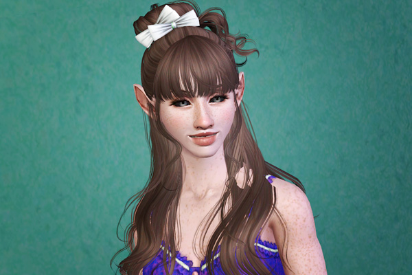 Half up with bow half down hairstyle retextured by Beaverhausen for Sims 3