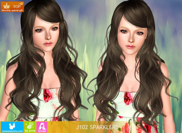 Super wavy hairstyle J102 Sparklers by NewSea for Sims 3
