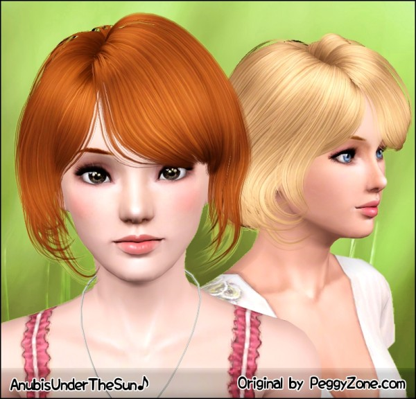 Bun on neck hairstyle Peggy 812 retextured by Anubis for Sims 3