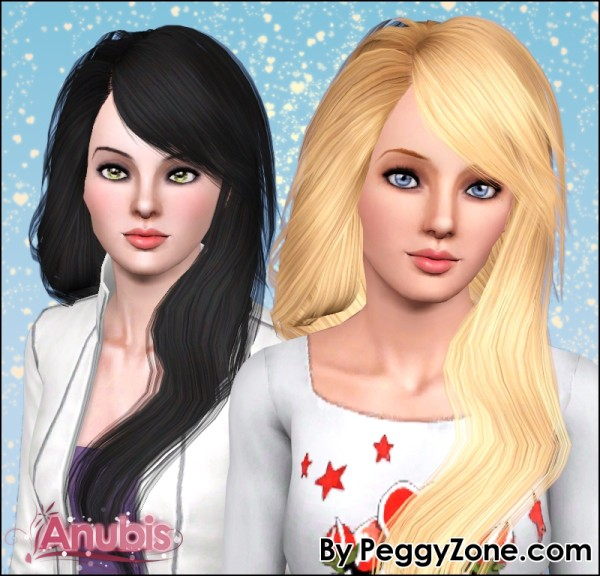 Simple sleek hairstyle Peggy`s 530 retextured by Anubis for Sims 3
