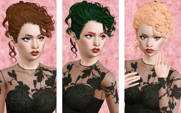 Curly chignon hairstyle   Retexture of Sjoko's hair for Sims 3