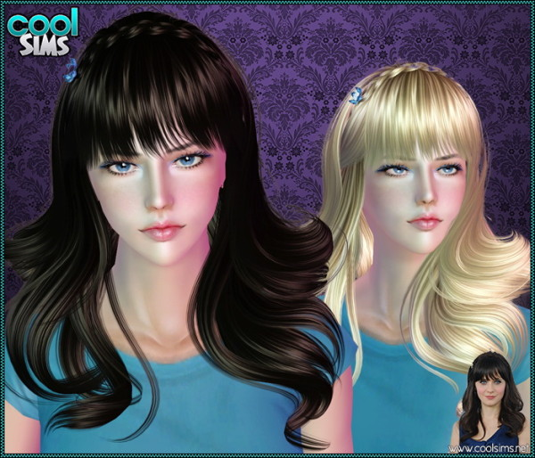 Braided crown with bangs hairstle 100 by Anto for Sims 3