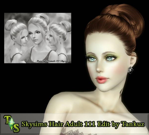 Skysims rolled ponytail hairstyle 111 retextured by Tankuz for Sims 3