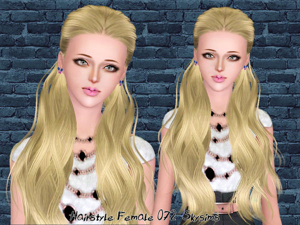Half back up hairstyle 072 by Skysims for Sims 3