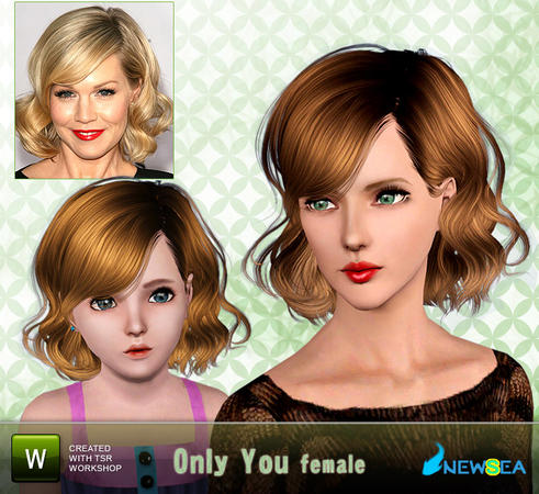 Curly bob with bangs hairstyle Only You by NewSea for Sims 3