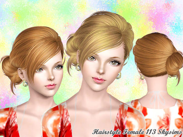 Radiant side bun hairstyle 113 by Skysims for Sims 3