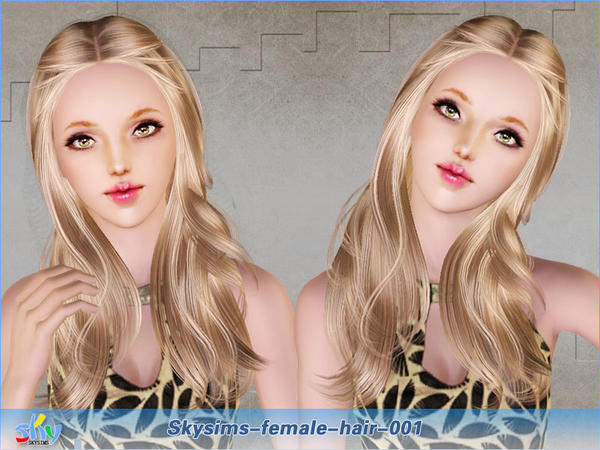 Natural looking curls hairstyle  001 by Skysims for Sims 3