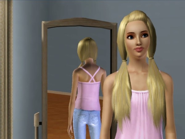 Double ponytail hairstyle tretextured by Savio for Sims 3