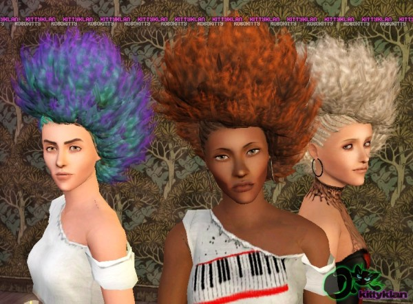 Half braided afros hairstyle by robokitty for Sims 3