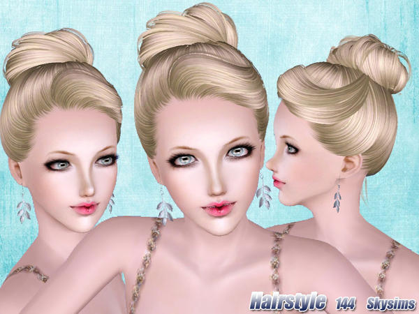Round topknot hairstyle 144 by Skysims for Sims 3