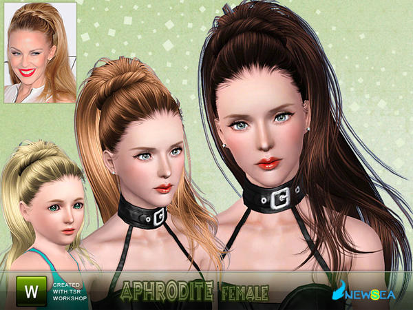 Aphrodite dimensional wrapped ponytail hairstyle by NewSea for Sims 3