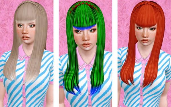 Braided crown with bangs hairstyle Zauma's Sugar retextured by Beaverhausen for Sims 3