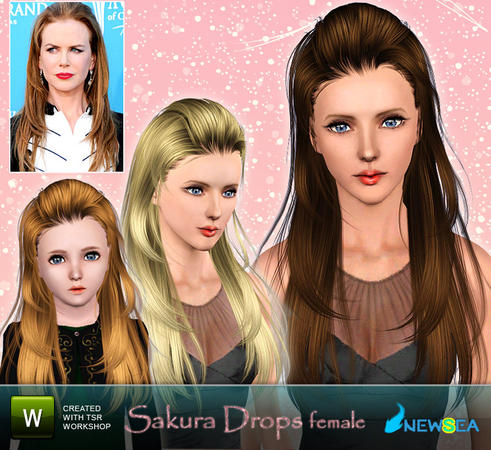 Bangs caught hairstyle Sakura Dropsh by NewSea for Sims 3