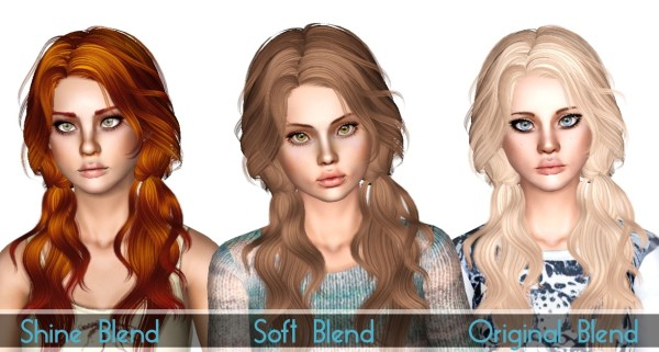 Double wavy ponytails Newseas Candy Sea retextured by Sjokosims for Sims 3